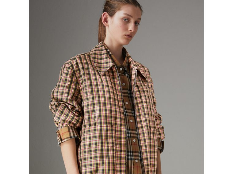 Lightweight Check Harrington Jacket in Bright Coral Pink - Women | Burberry - cell image 4