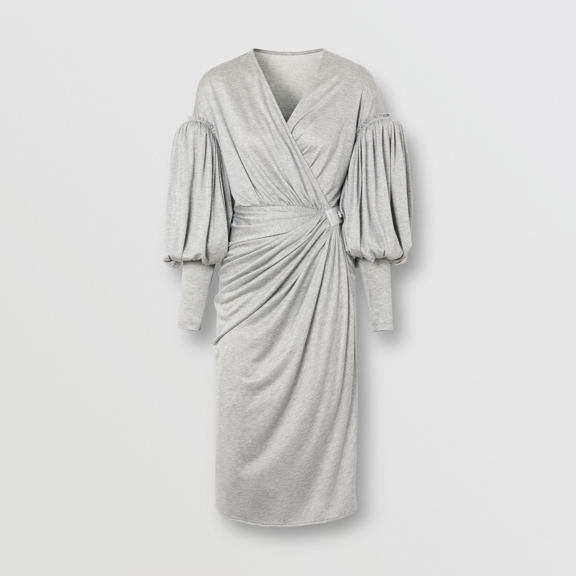 Puff-sleeve Jersey Wrap Dress in Pewter Melange - Women | Burberry - gallery image 3