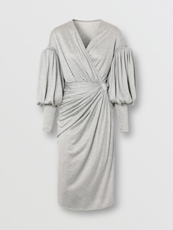 Puff-sleeve Jersey Wrap Dress in Pewter Melange - Women | Burberry - cell image 3