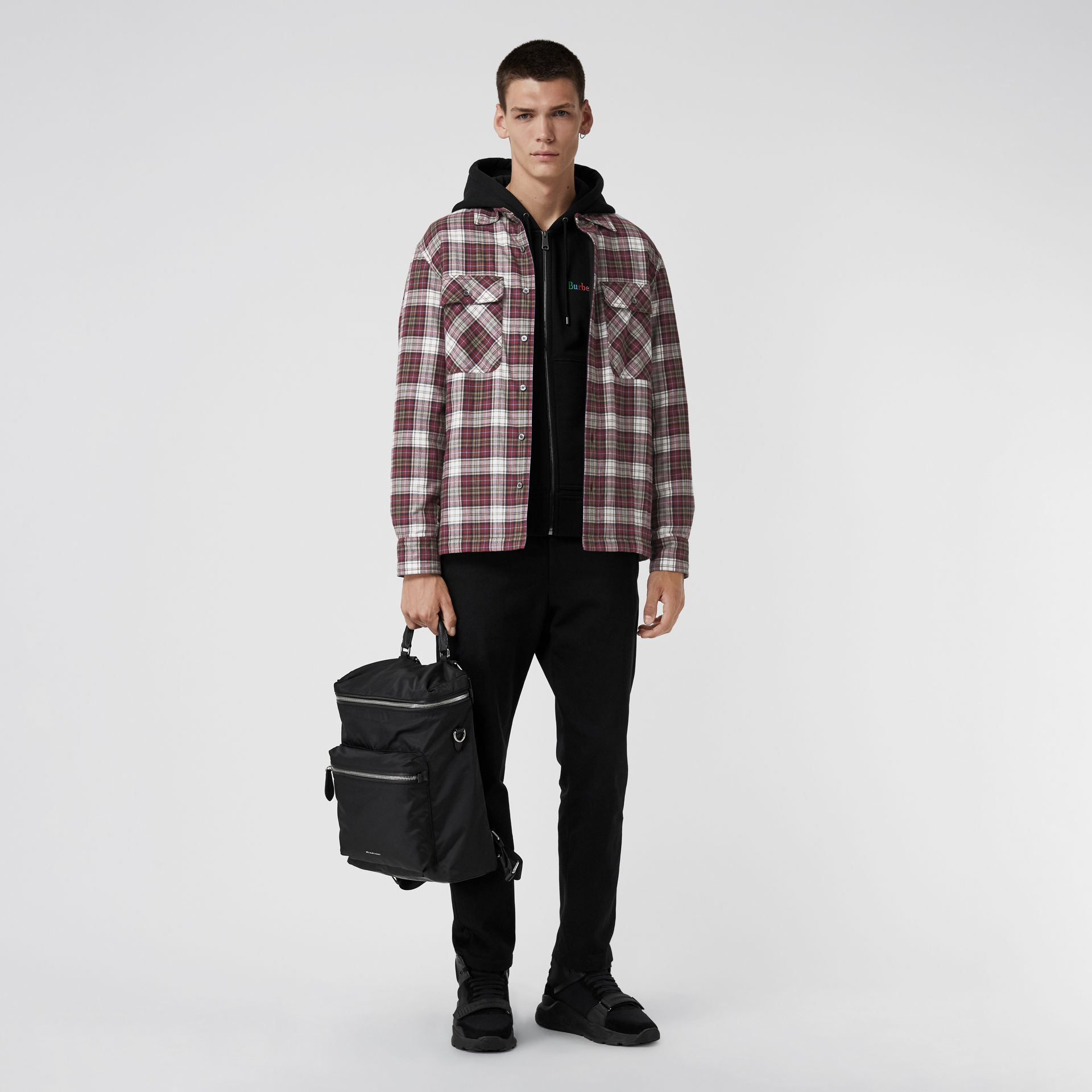 Quilted Check Flannel Shirt in Crimson Red - Men | Burberry - gallery image 0
