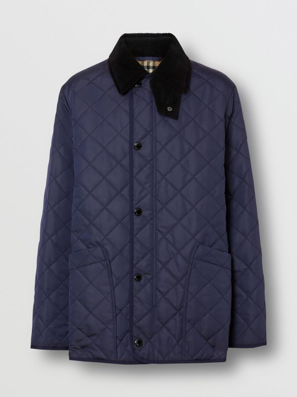Diamond Quilted Thermoregulated Barn Jacket in Navy - Men | Burberry - cell image 3
