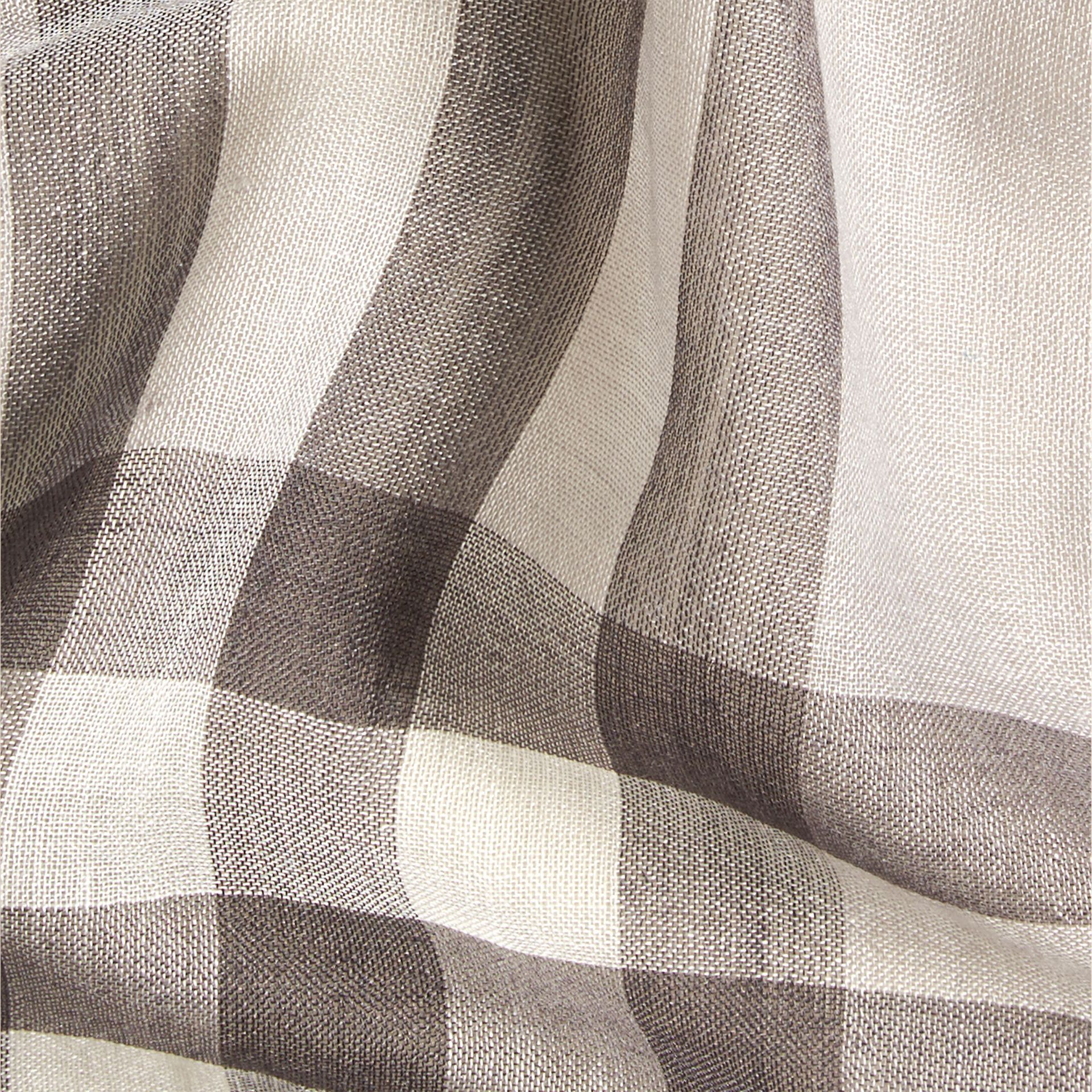 Pale grey Lightweight Check Wool and Silk Scarf Pale Grey - gallery image 2