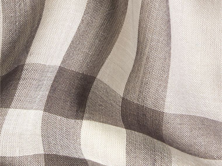 Pale grey Lightweight Check Wool and Silk Scarf Pale Grey - cell image 1