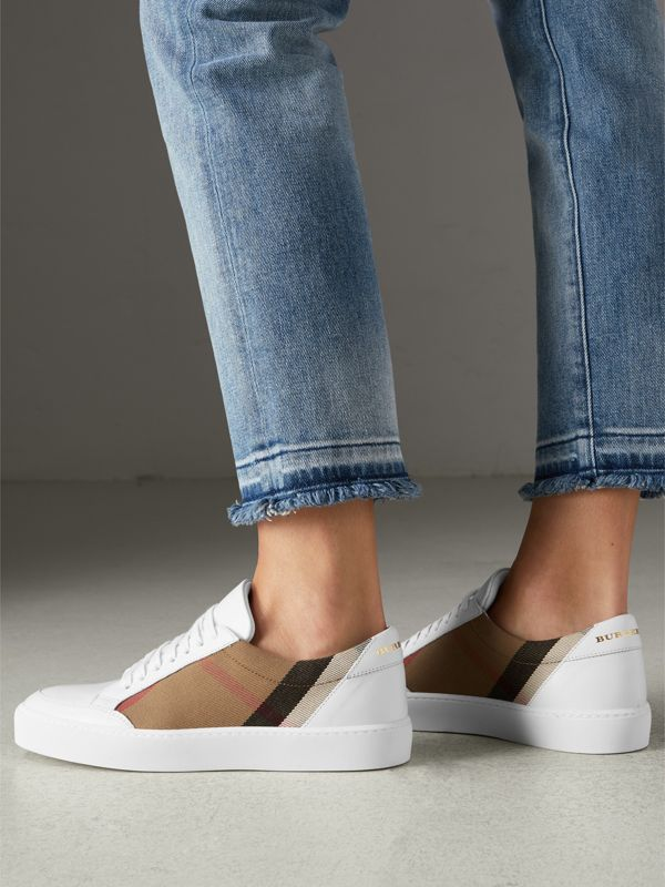 Check Detail Leather Sneakers in House Check/ Optic White - Women | Burberry United States - cell image 2