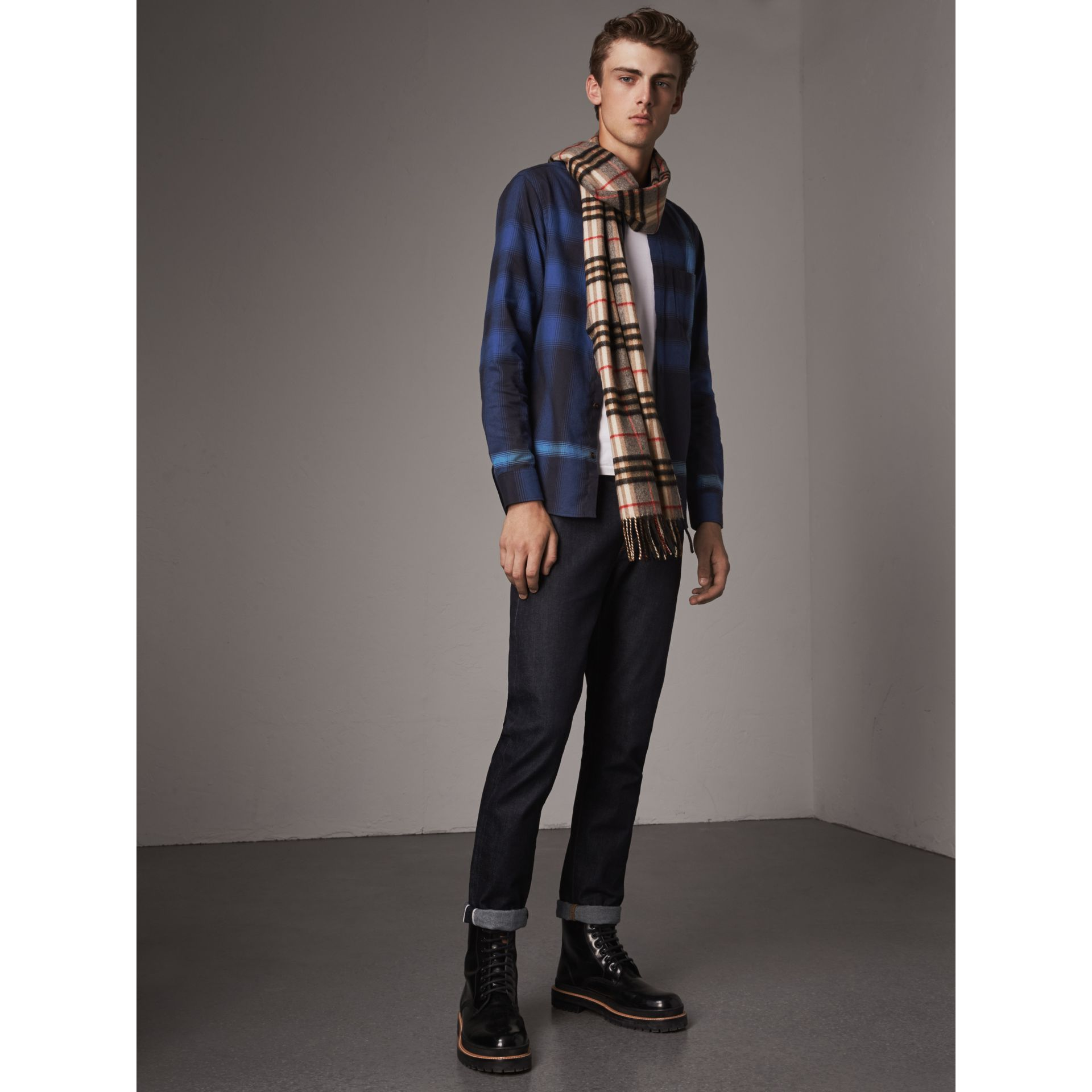 Ombré Check Cotton Flannel Shirt in Cobalt Blue - Men | Burberry - gallery image 4