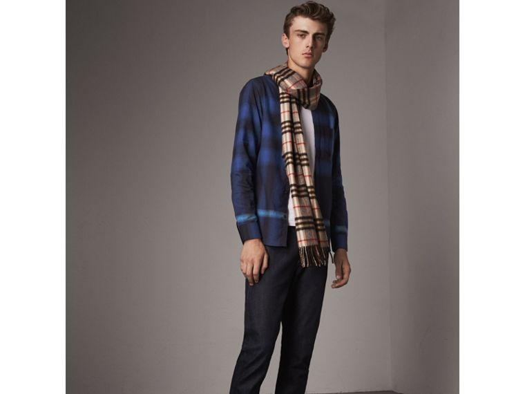 Ombré Check Cotton Flannel Shirt in Cobalt Blue - Men | Burberry - cell image 4
