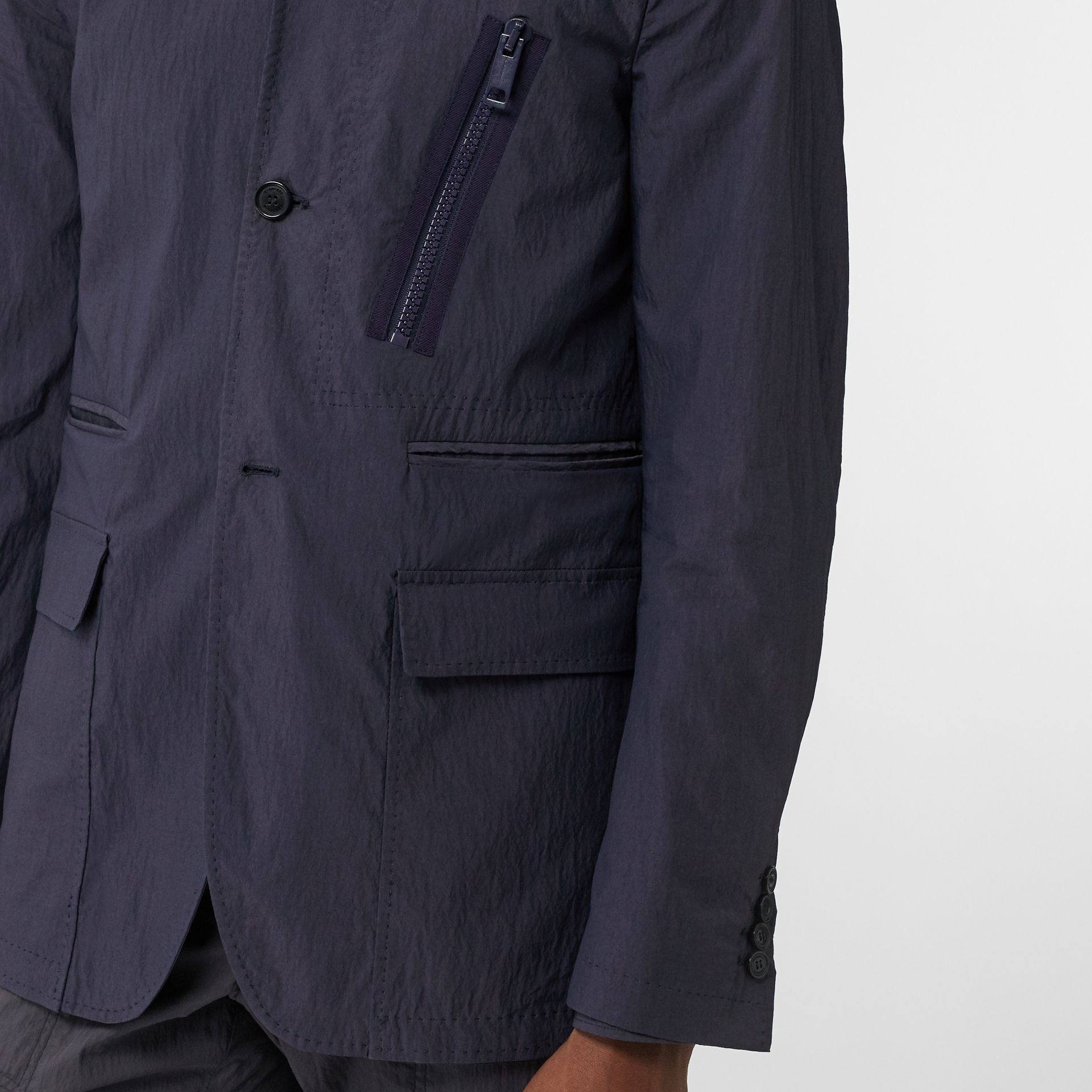 Crinkled Cotton Blend Tailored Jacket in Navy - Men | Burberry United Kingdom - gallery image 4