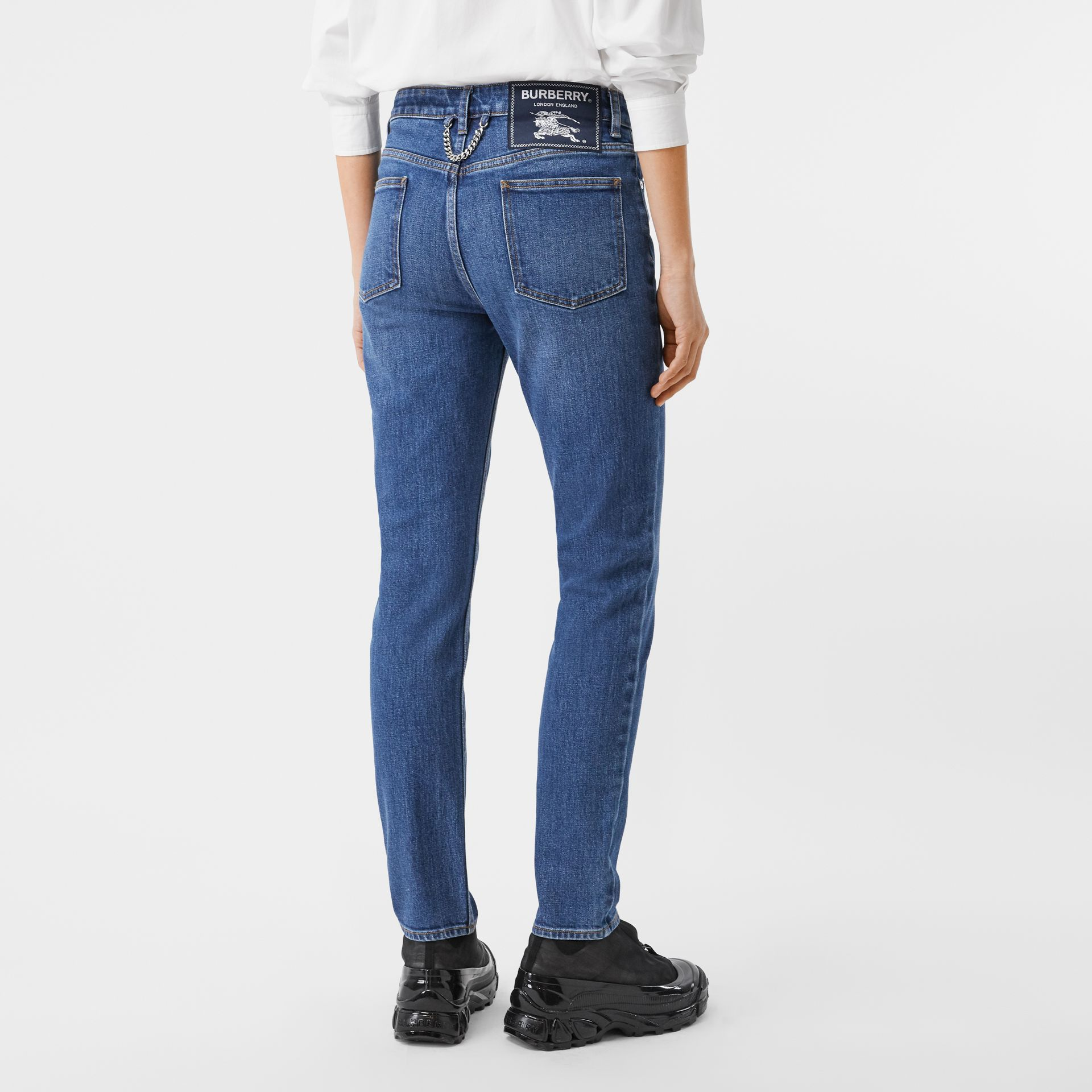 Straight Fit Japanese Stretch Denim Jeans in Indigo - Women | Burberry - gallery image 2