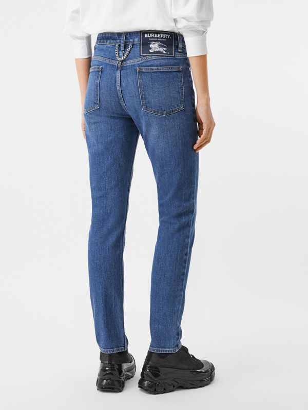 Straight Fit Japanese Stretch Denim Jeans in Indigo - Women | Burberry - cell image 2