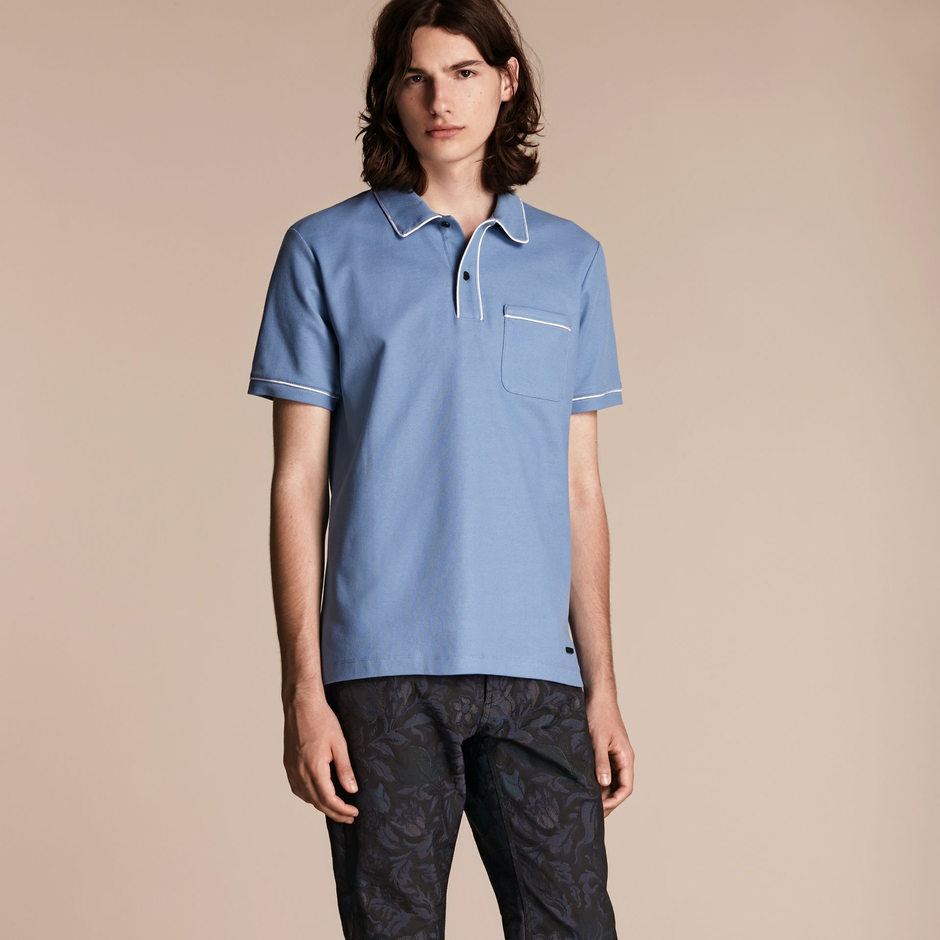 Light blue Piped Cotton Piqué Polo Shirt Light Blue - gallery image 1
