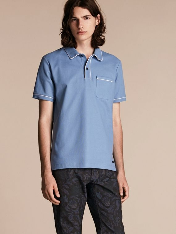 Piped Cotton Piqué Polo Shirt Light Blue