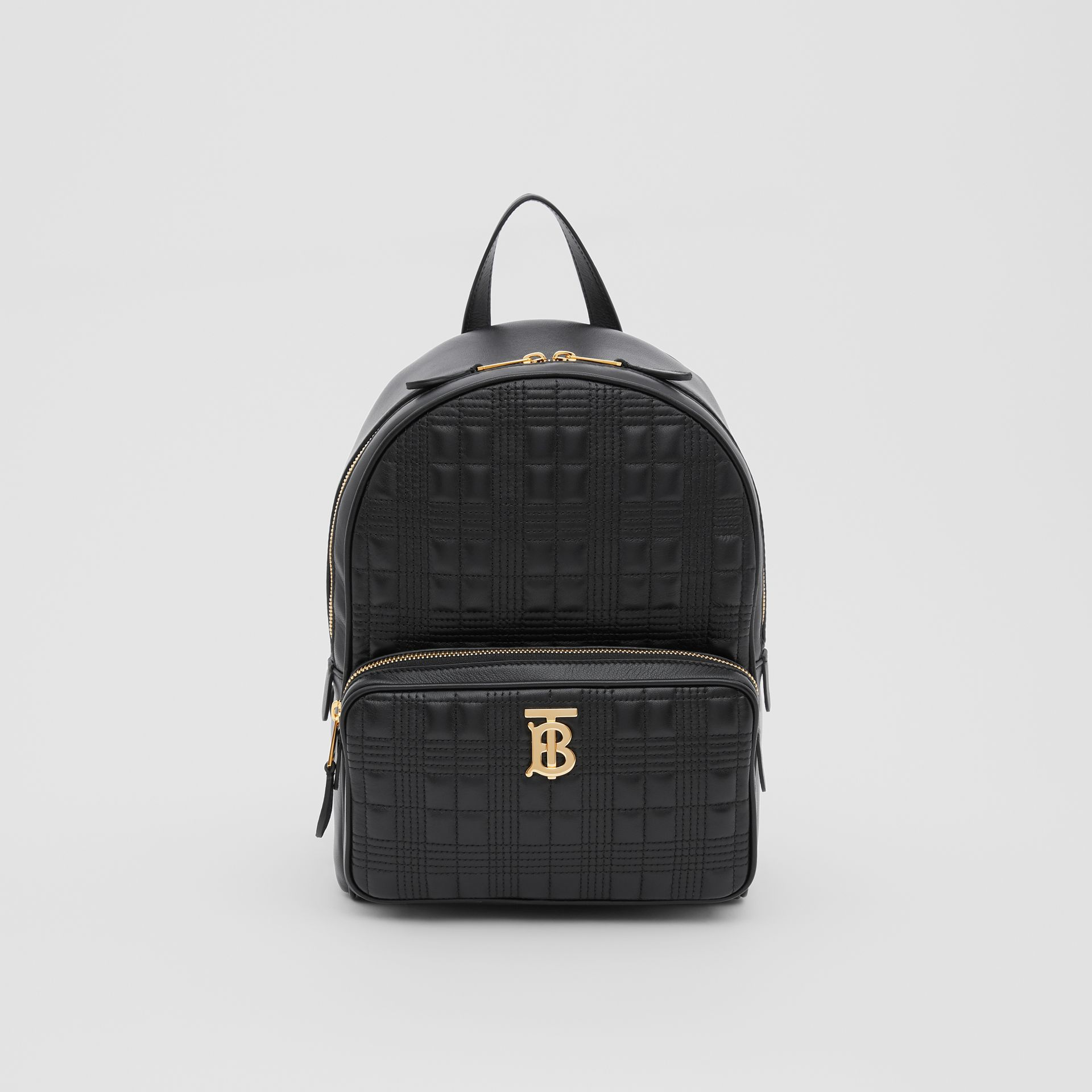 Quilted Check Lambskin Backpack in Black - Women | Burberry - gallery image 0