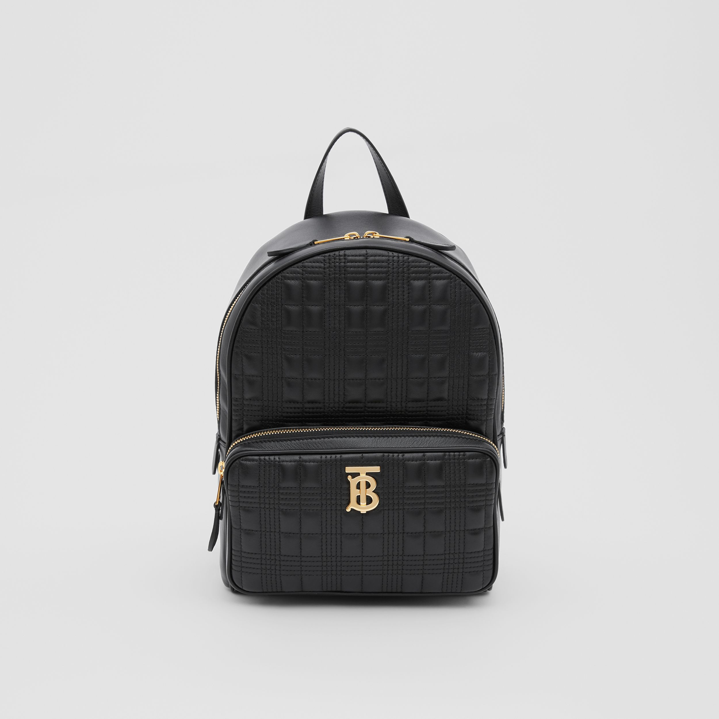 Quilted Check Lambskin Backpack in Black - Women | Burberry - 1