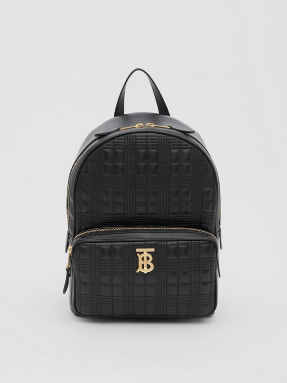 Quilted Check Lambskin Backpack in Black