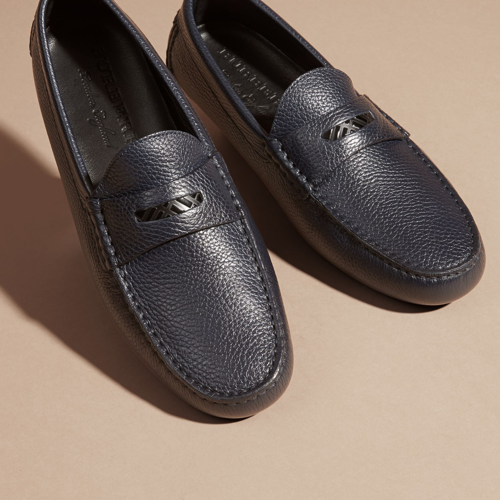 Grainy Leather Loafers with Engraved Check Detail Navy - gallery image 3