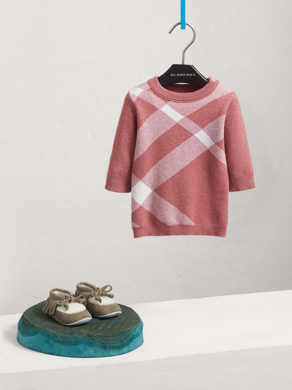 Check Cotton Cashmere Blend Dress in Mauve Pink | Burberry - cell image 2