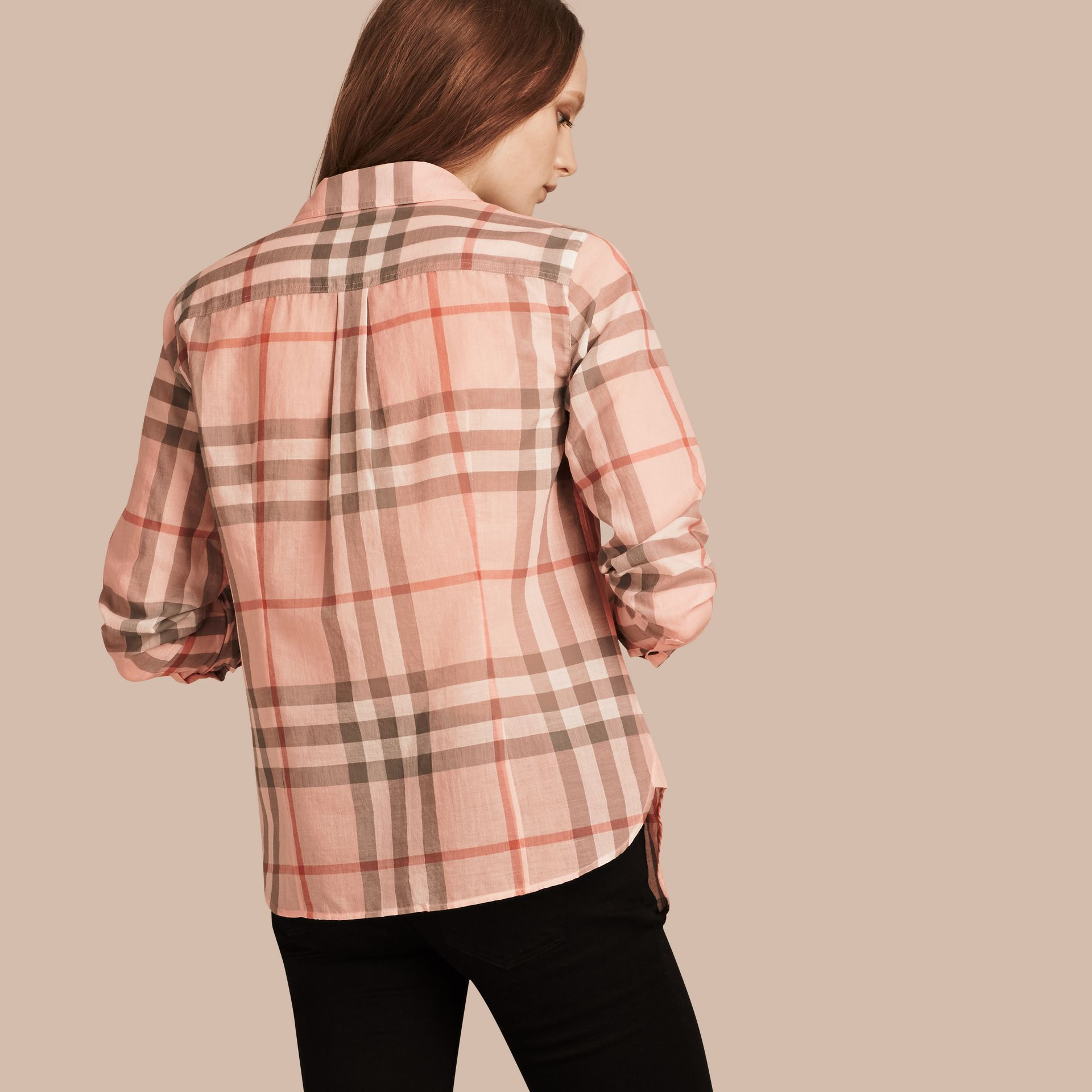 Pale apricot Check Cotton Shirt Pale Apricot - gallery image 3