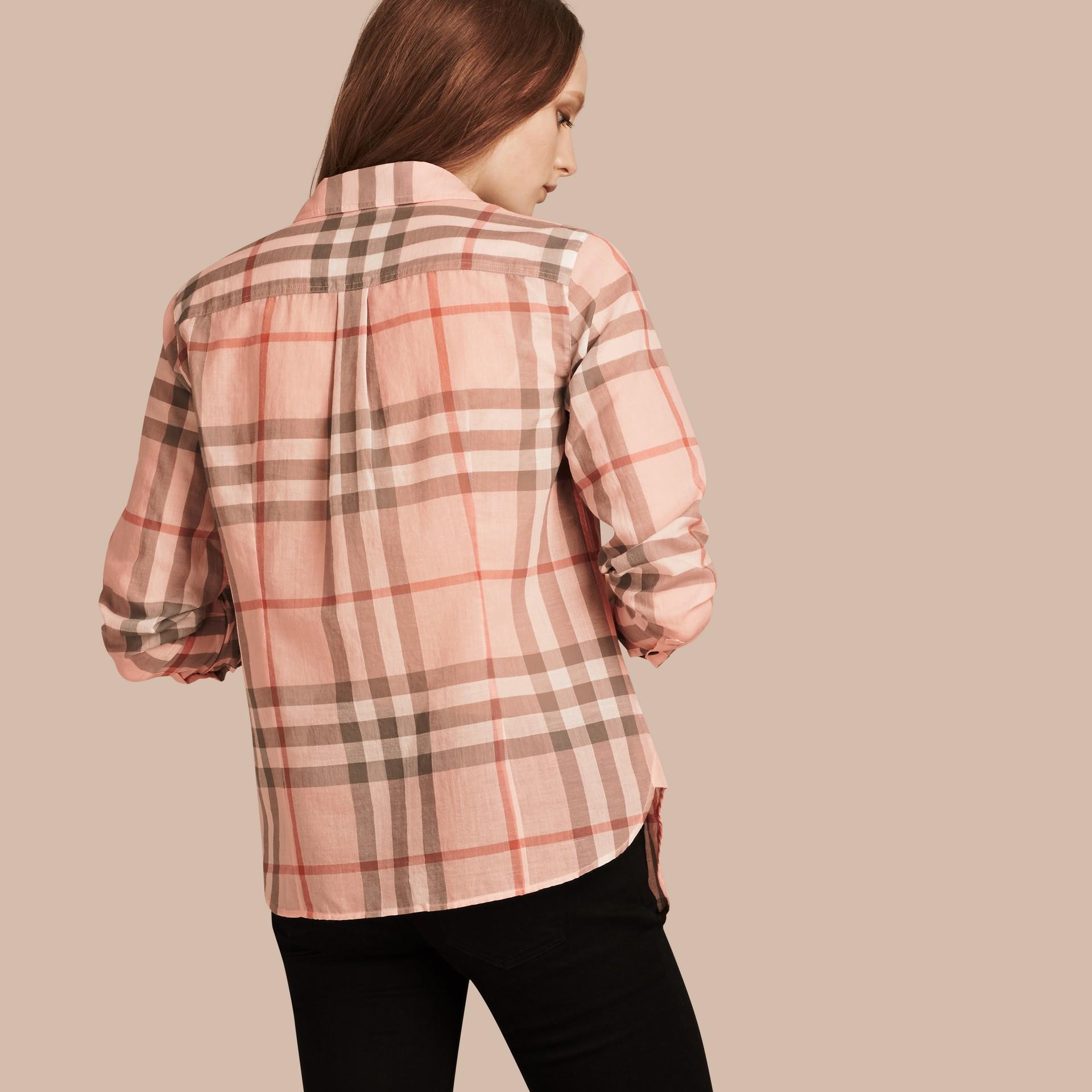 Albicocca pallido Camicia in cotone con motivo check Albicocca Pallido - immagine della galleria 3