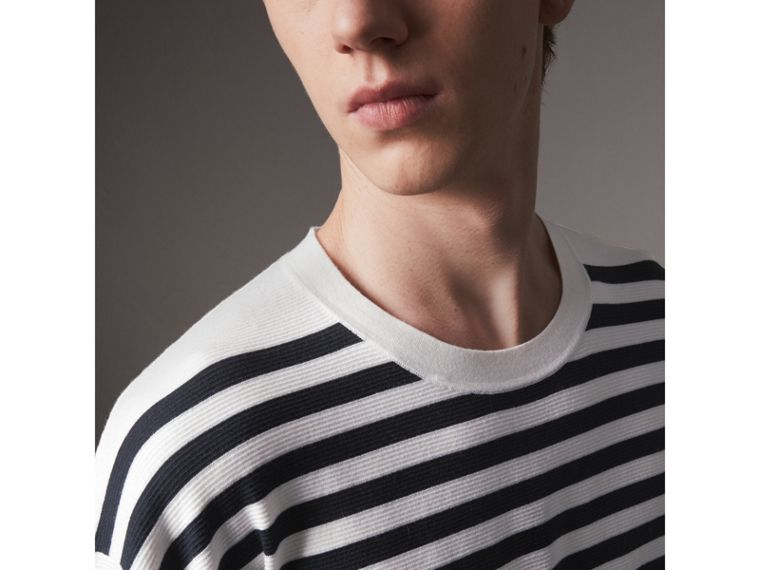 Breton Stripe Merino Wool Silk Blend Top in Navy - Men | Burberry - cell image 1