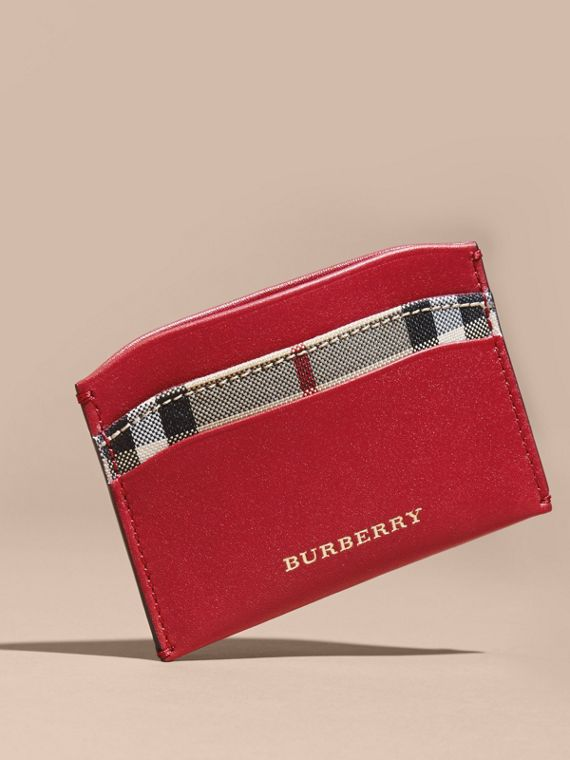 Check and Leather Card Case in Parade Red - Women | Burberry - cell image 2