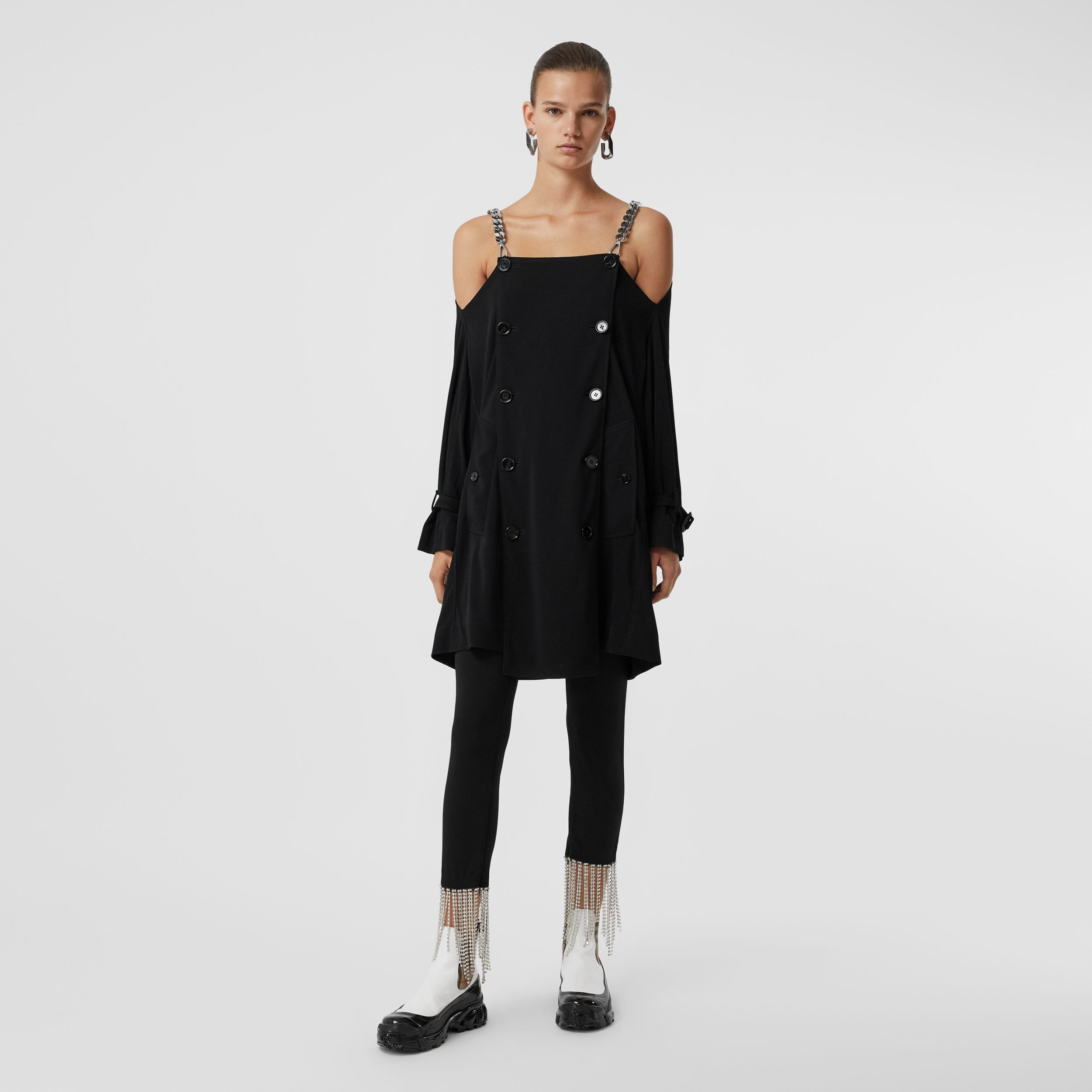 Deconstructed Crepe Trench Coat Dress in Black - Women | Burberry - 1