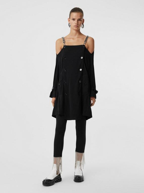 Deconstructed Crepe Trench Coat Dress in Black