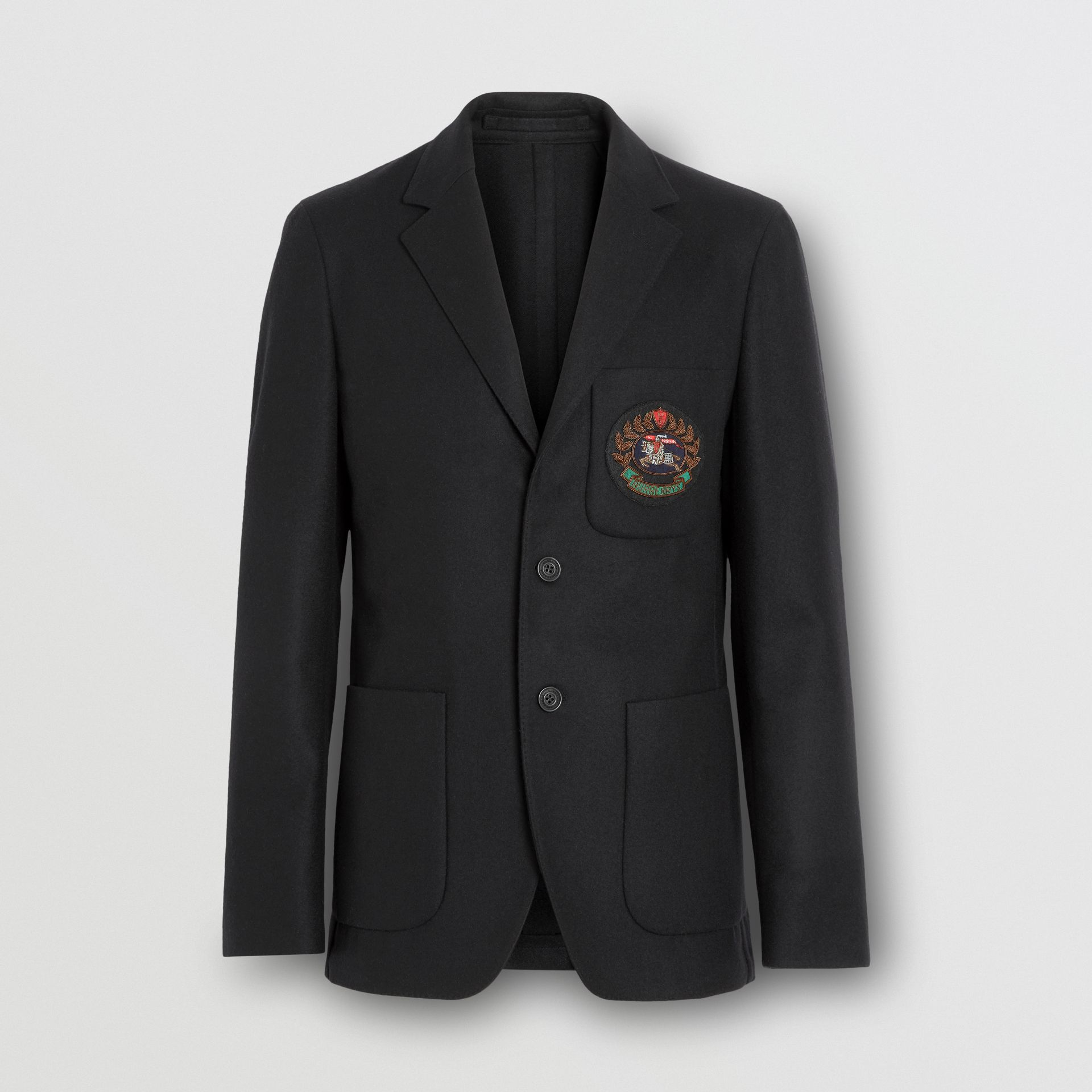 Slim Fit Embroidered Crest Wool Club Blazer in Black - Men | Burberry - gallery image 3