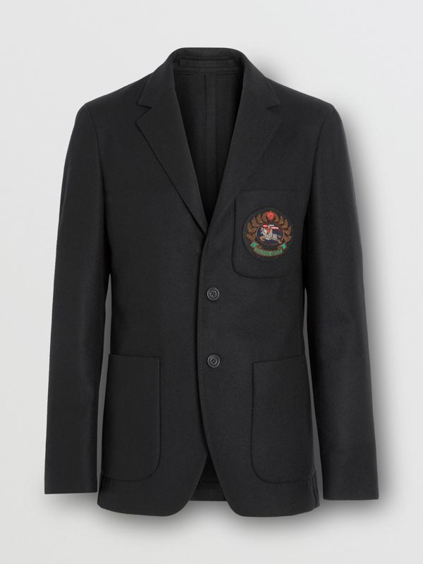 Slim Fit Embroidered Crest Wool Club Blazer in Black - Men | Burberry - cell image 3