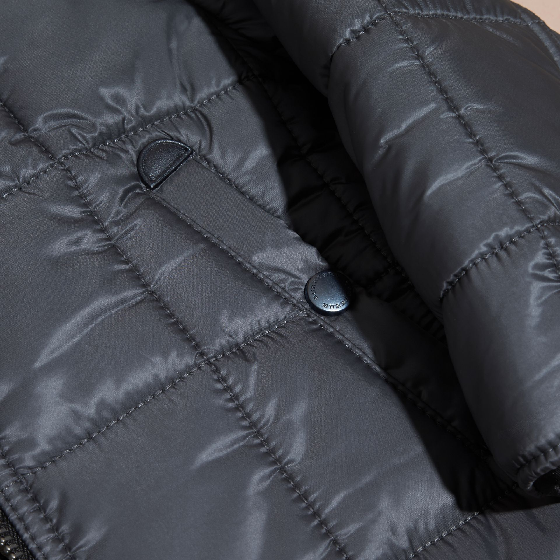 Charcoal Lightweight Quilted Jacket with Hood - gallery image 2