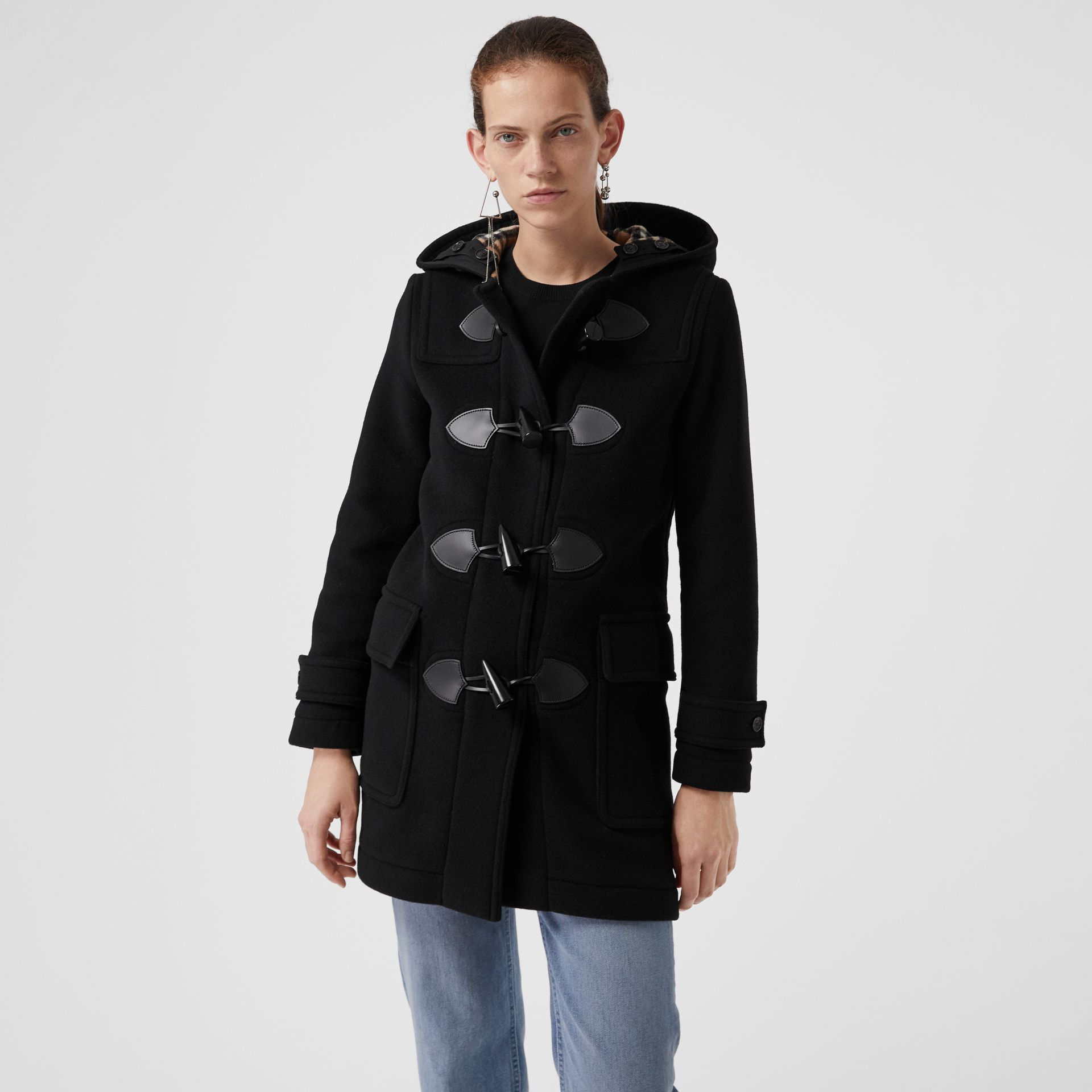 Wool Blend Duffle Coat in Black - Women | Burberry - gallery image 5