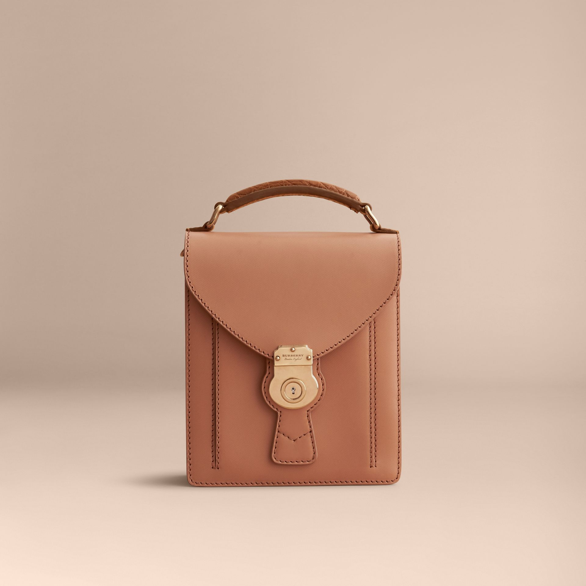 The Small DK88 Satchel with Alligator in Pale Clementine - Men | Burberry - gallery image 7