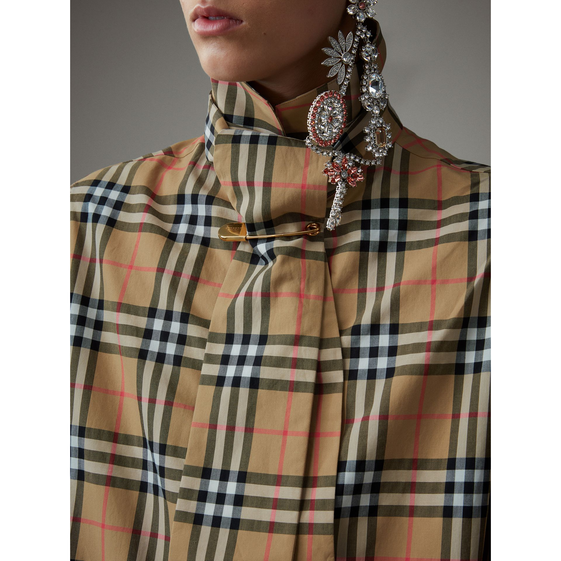 Vintage Check Cotton Tie-neck Riding Shirt in Antique Yellow - Women | Burberry - gallery image 1