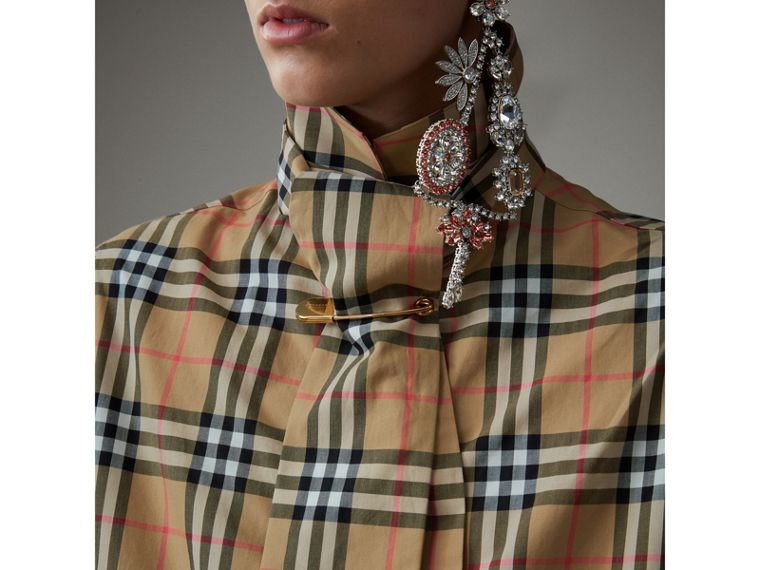 Vintage Check Cotton Tie-neck Riding Shirt in Antique Yellow - Women | Burberry - cell image 1