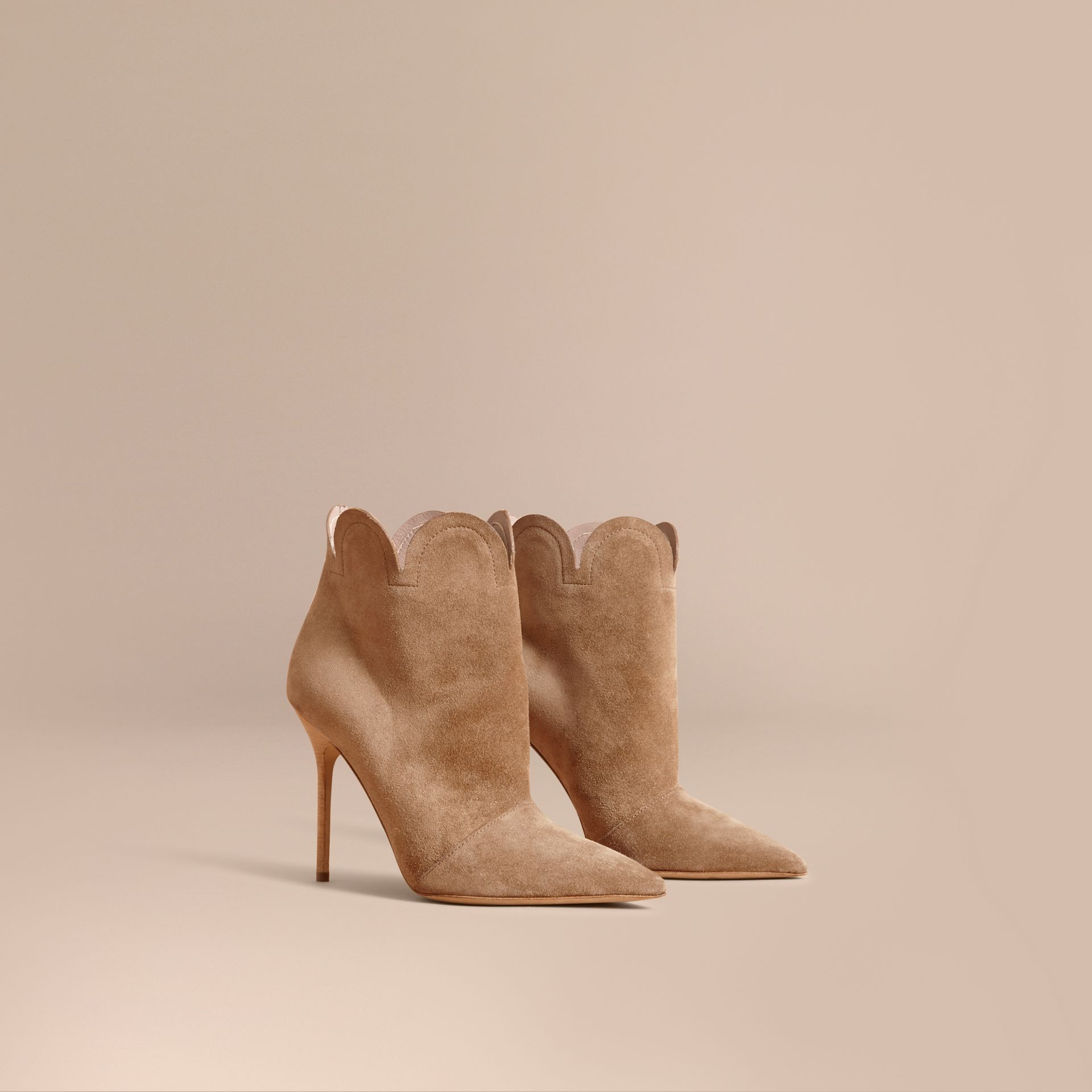 Scalloped Suede Ankle Boots in Sandstone - Women | Burberry - gallery image 1