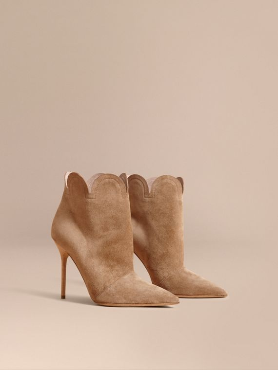 Scalloped Suede Ankle Boots in Sandstone - Women | Burberry