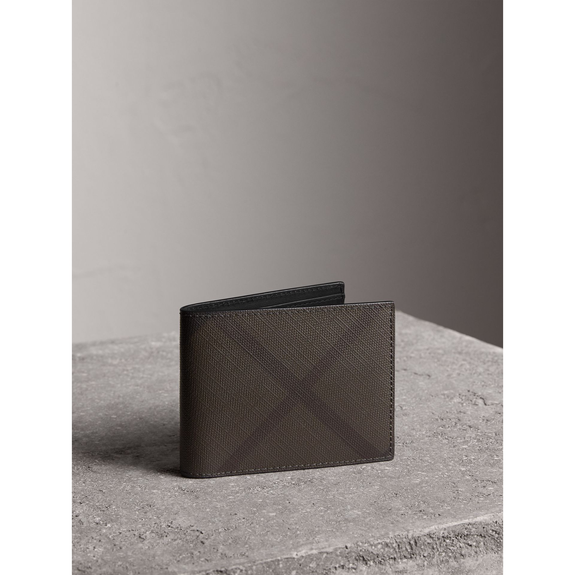 London Check and Leather Bifold Wallet in Chocolate/black - Men | Burberry Australia - gallery image 1