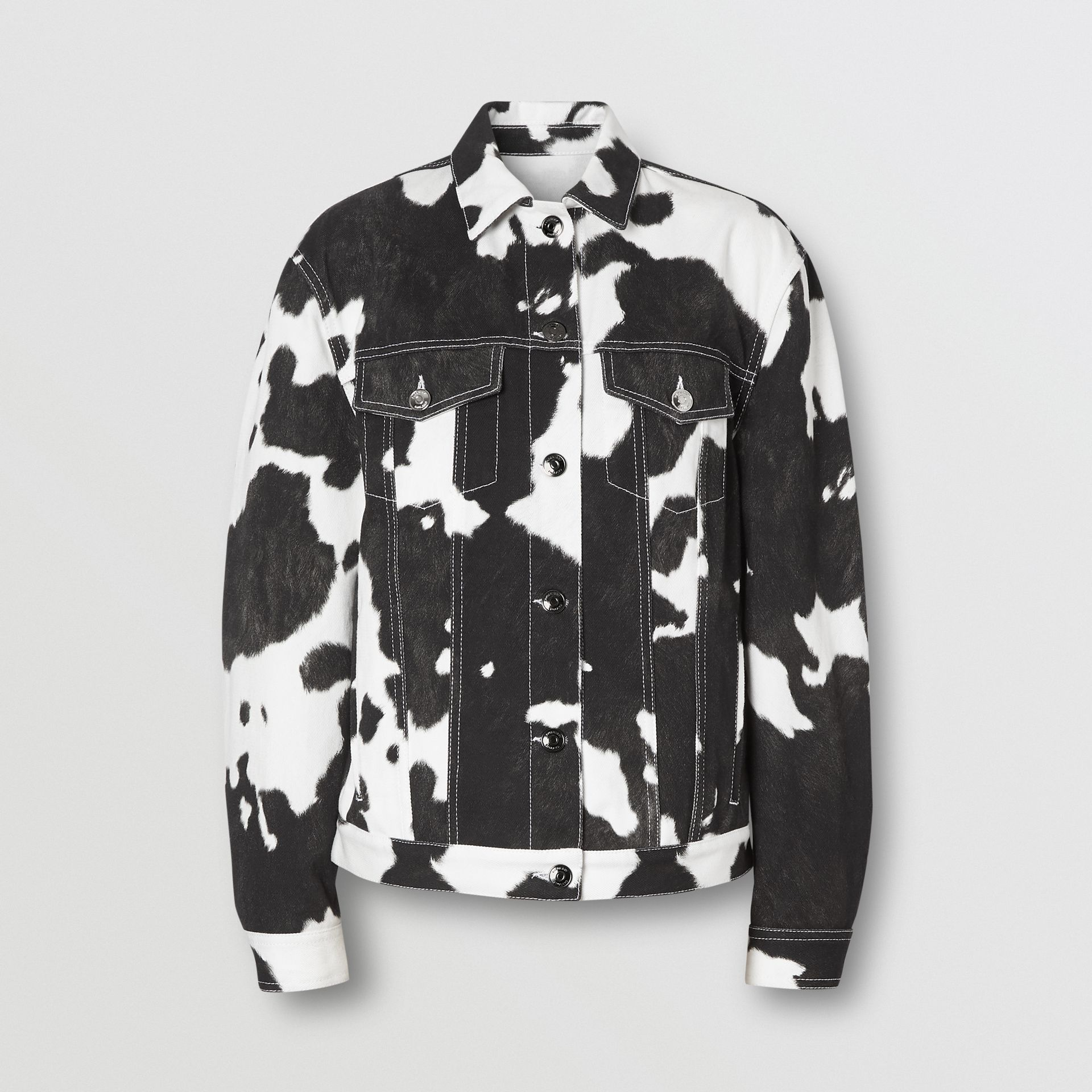 Cow Print Denim Jacket in Black - Women | Burberry - gallery image 3