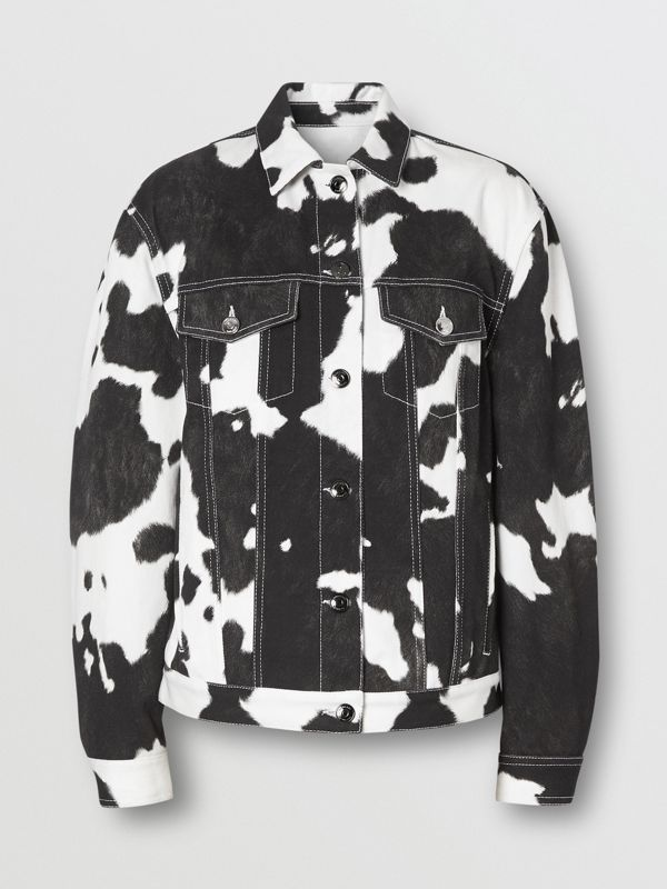 Cow Print Denim Jacket in Black - Women | Burberry - cell image 3