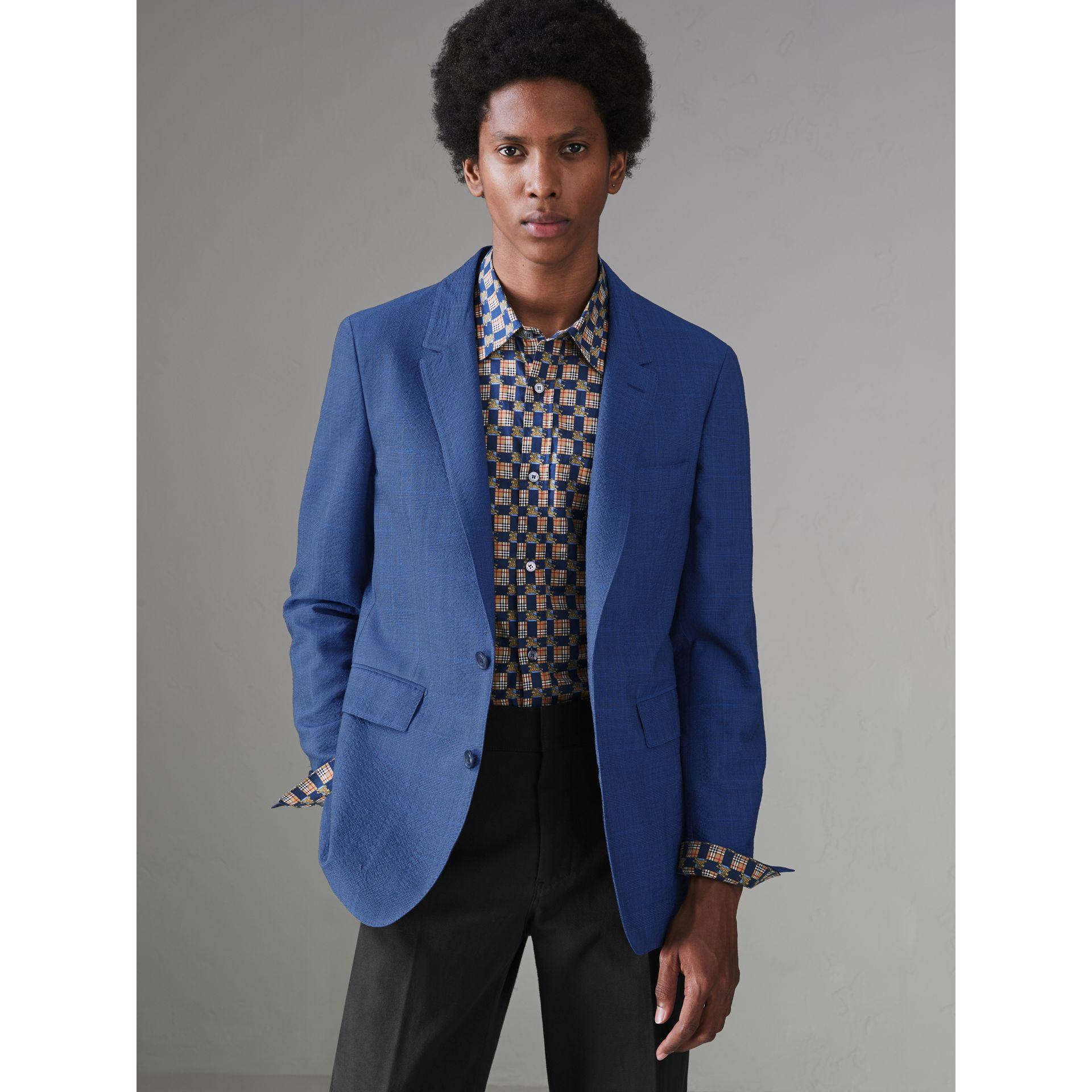 Windowpane Stretch Wool Tailored Jacket in Bright Navy - Men | Burberry Singapore - gallery image 3