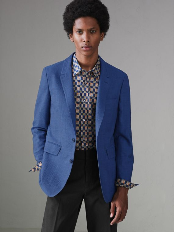 Windowpane Stretch Wool Tailored Jacket in Bright Navy - Men | Burberry Singapore - cell image 3