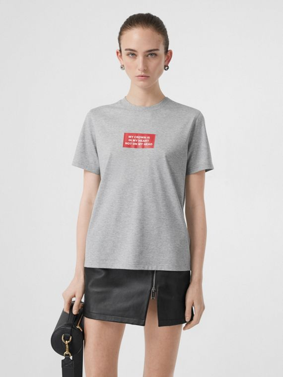 Montage Print Cotton T-shirt in Pale Grey Melange