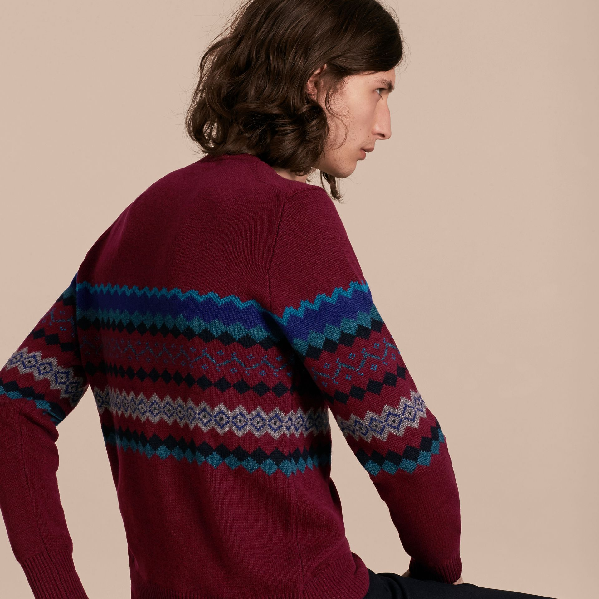 Burgundy Fair Isle Intarsia Cashmere Wool Sweater - gallery image 3