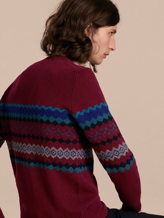 Burgundy Fair Isle Intarsia Cashmere Wool Sweater - cell image 2