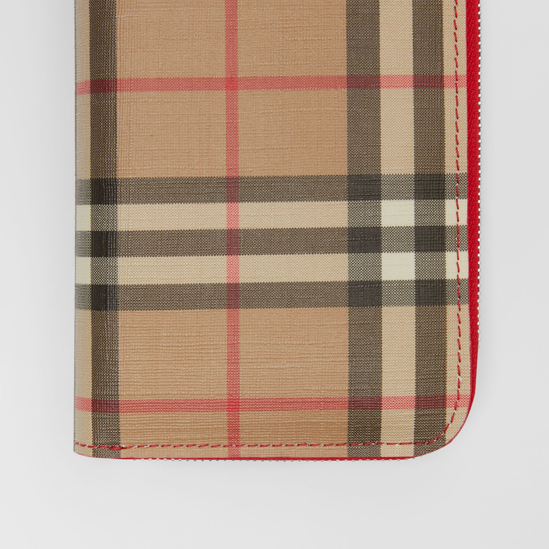 Vintage Check and Leather Ziparound Wallet in Bright Military Red - Women | Burberry Singapore - gallery image 1