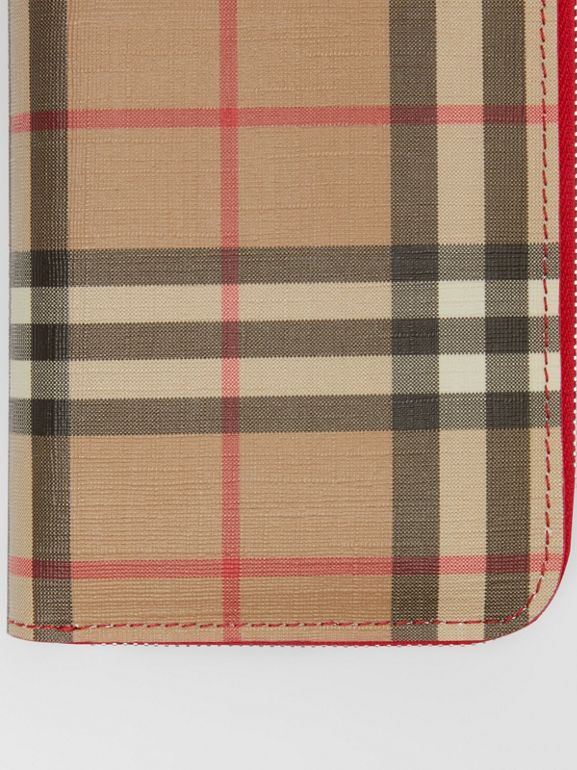 Vintage Check and Leather Ziparound Wallet in Bright Military Red - Women | Burberry - cell image 1