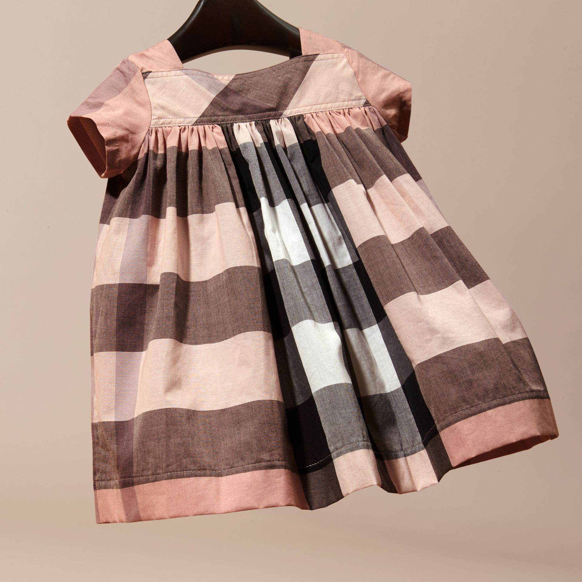 Antique pink Check Cotton Dress - gallery image 4