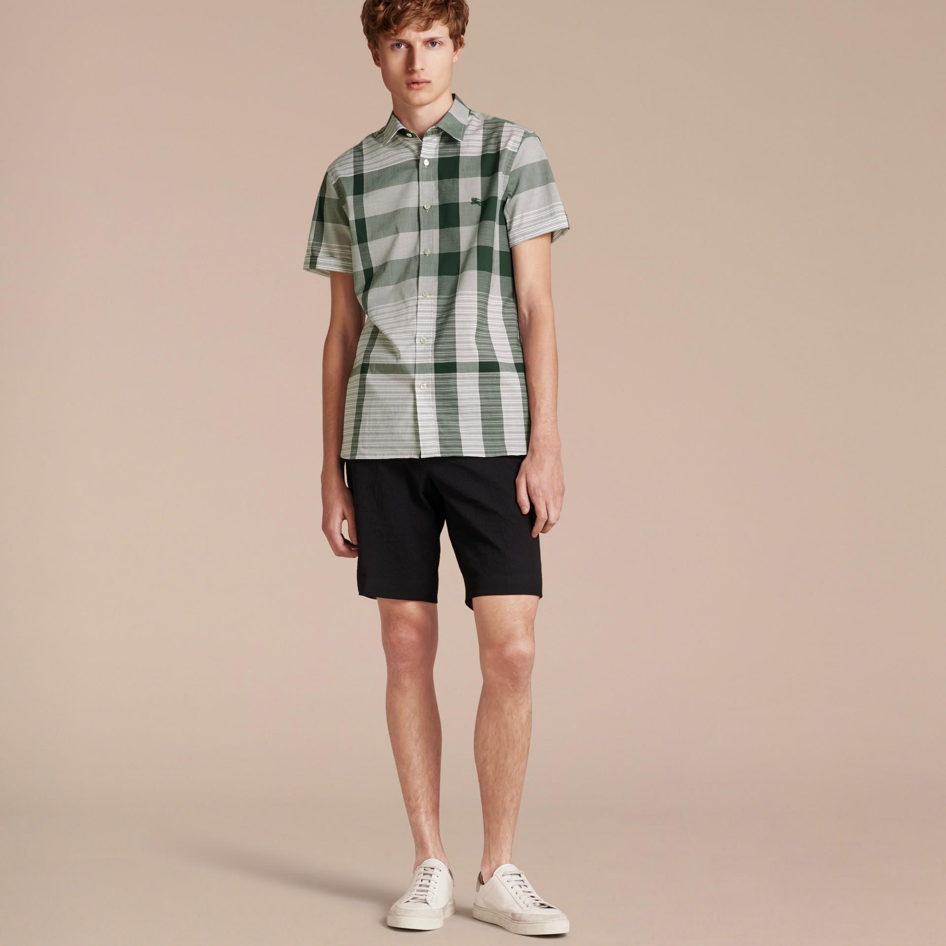 Short-sleeved Tonal Check Cotton Shirt Dark Bottle Green - gallery image 6