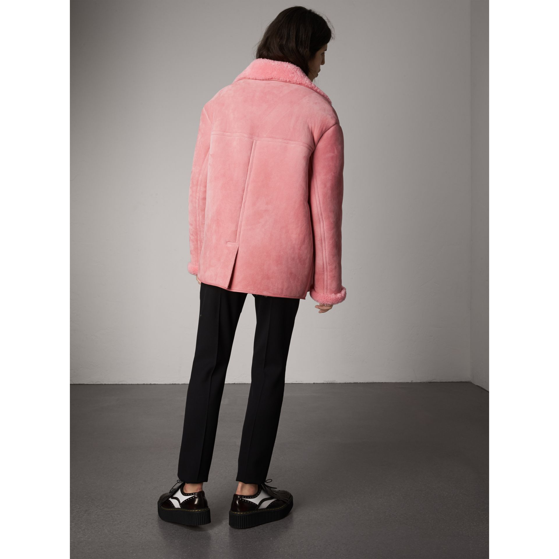 Leather Trim Shearling Oversized Jacket in Copper Pink - Women | Burberry Australia - gallery image 2