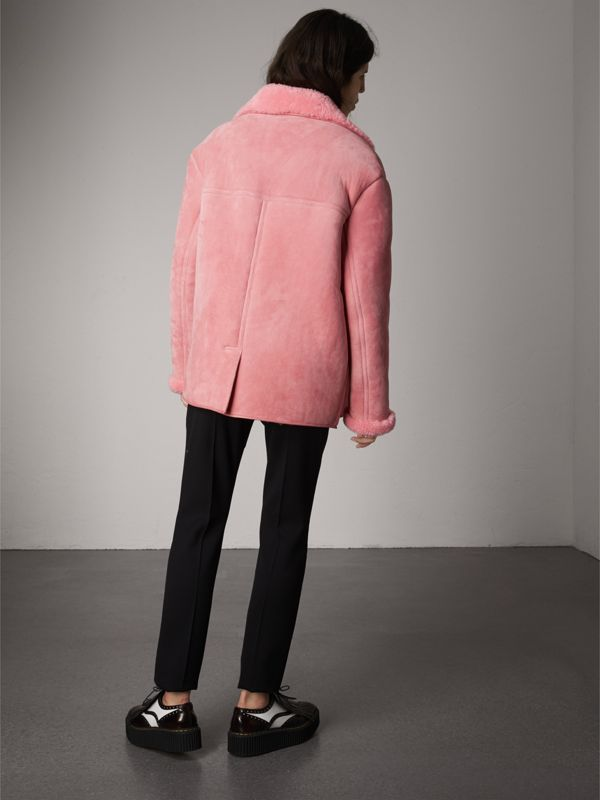 Leather Trim Shearling Oversized Jacket in Copper Pink - Women | Burberry - cell image 2