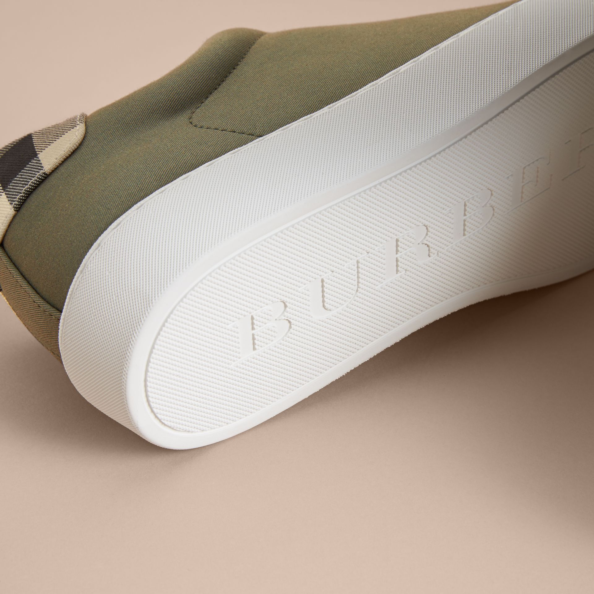 Check Detail Cotton Trainers in Oregano - Women | Burberry Canada - gallery image 5